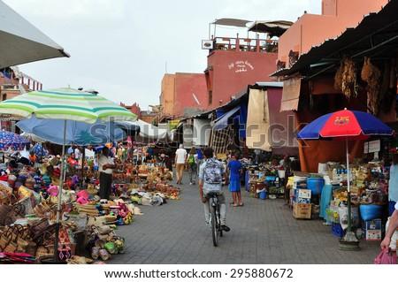 marrakech city morocco medina bazaar market landmark 05.06.2015 - stock photo