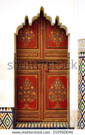 marrakech city morocco palace landmark arab door