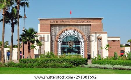 Marrakech city Morocco train station landmark architecture - stock photo