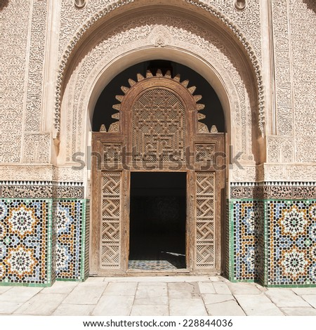 MARRAKECH, MOROCCO - CIRCA SEPTEMBER 2014: The Ben Youssef Madrasa circa September 2014 in Marrakech.