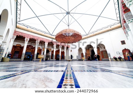 Marrakech, MOROCCO - February 10, 2012 - Impressive Musee de Marrakech courtyard located in Mnebhi Palace - stock photo