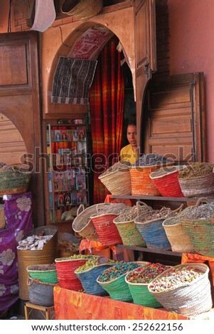 MARRAKECH, MOROCCO, MAY 10, 2013 : In the Medina of Marrakesh. Marrakesh is one of the most touristic place in Morocco.