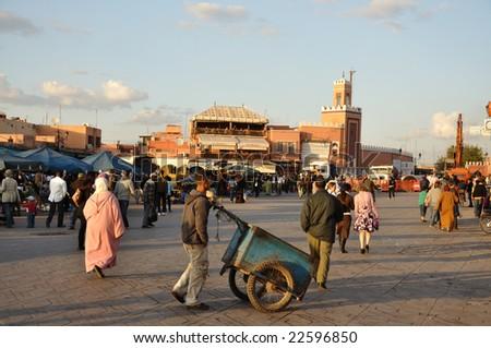 MARRAKECH, MOROCCO - NOV 22:  People at Djemaa el Fna square.  November 22, 2008 in Marrakech, Morocco - stock photo