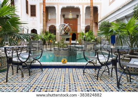 MARRAKECH, MOROCCO - OCTOBER 27, 2015: Traditional riad interior in Fes El Bali medina, Morocco, Africa - stock photo