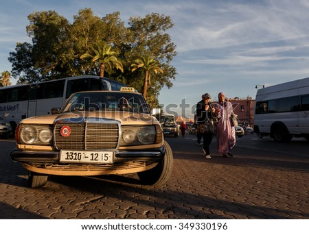 MARRAKECH, MOROCCO - OCTOBER 27, 2015:  Unidentified people at Marrakech medina near the UNESCO square Djemaa El-fna at Marrakesh, Morocco