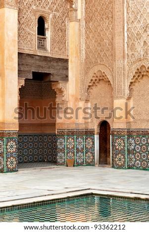 Marrakesh madrasah walls ornament - stock photo
