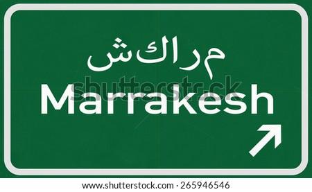 Marrakesh Morocco Highway Road Sign - stock photo