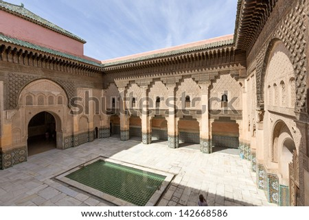 MARRAKESH, MOROCCO- JUNE 3, 2013: A million people a year visit the Madrasa Ben Youssef, an historic landmark in Marrakesh here on June 3, 2013.