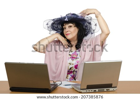 Marriage broker enjoy working on-line with her personal clients. Agent sitting on white background