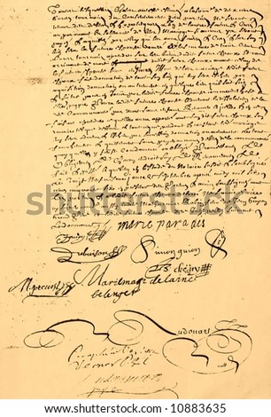 Marriage Contract dated 1656. Page 2 of 2. - stock photo