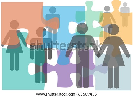 Marriage counseling couples singles divorce people in a puzzle abstract - stock photo