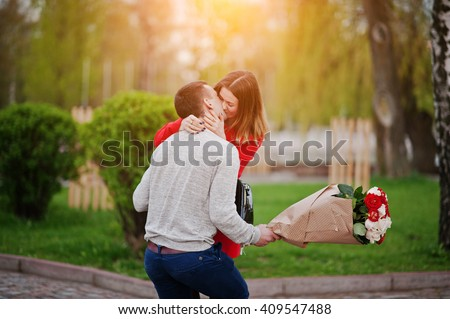 Marriage Proposal Kissed Girl Boyfriend Bouquet Stock Photo Royalty
