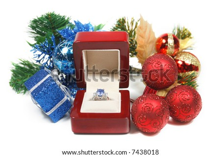 Marriage proposal on winter holidays, present, surprise, New year's night or christmas gift - stock photo