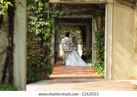 marriage walking down the aisle - stock photo