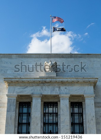 Marriner S. Eccles Federal Reserve Board Building houses the main offices of the Board of Governors of the Federal Reserve System. - stock photo