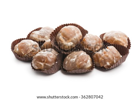marron glace on white background - stock photo