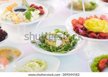 marrow cream salad with feta and greens - stock photo
