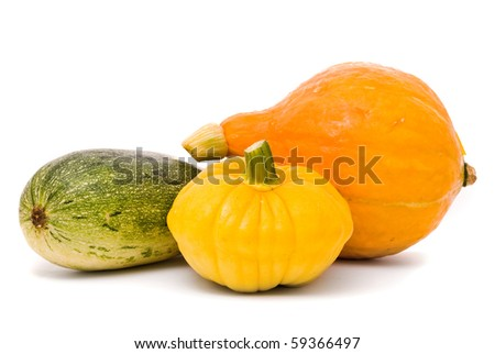 Marrows on a white studio background - stock photo