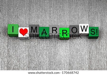 Marrows! Sign series for food, gardening, healthy eating and eat your vegetables! In marrow green.