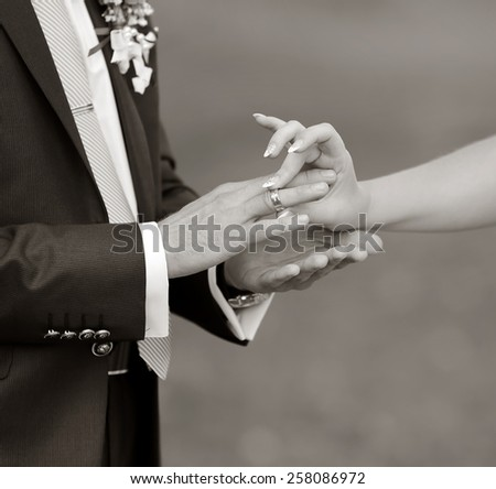 Marry me today and everyday. Wedding picture in black and white.  - stock photo