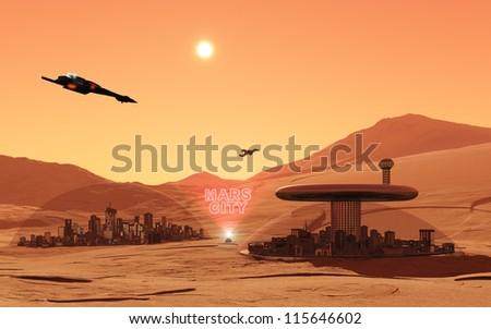 Mars City - stock photo