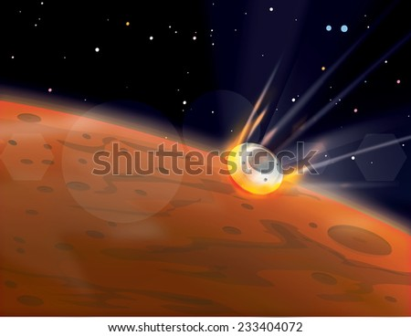 Mars Entry.  A Martian probe entering the martian atmosphere at high velocity as part of ongoing mars exploration programs. - stock photo