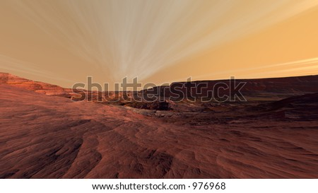 Mars Fractured Rocky Landscape - stock photo
