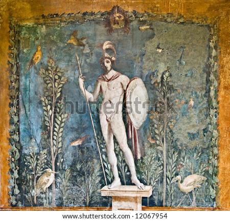 Mars fresco in House of Venus, Pompeii, Italy - stock photo