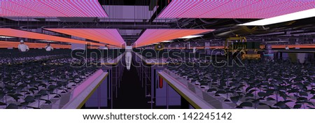 Mars Hydroponics Cultivation with LED lighting - stock photo