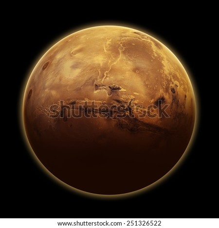 Mars Isolated - Elements of this Image Furnished by NASA - stock photo