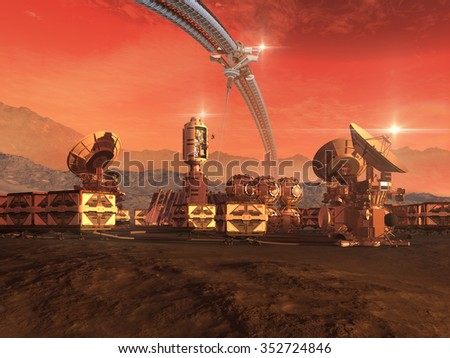 Mars like red planet with an architectural sky structure, research modules, observation pods and communication satellite dishes for science fiction backgrounds - stock photo