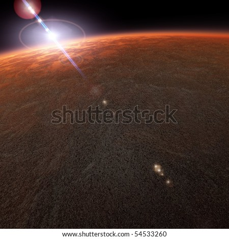Mars Planet View From Space - stock photo