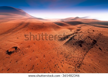 Mars, Red Planet and Martian landscape, hilly surface. Scattered stones, meteorites, craters. Dry Martian ground