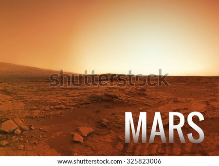 Mars surface. Elements of this image furnished by NASA - stock photo