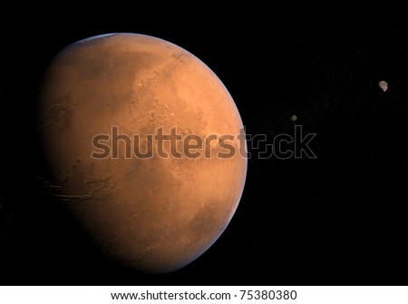 Mars with Moons - Phobos and Deimos - stock photo