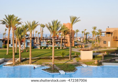 Marsa ALAM,EGYPT - JULY 25,2014:the hotel Grounds with pools, lagoons and gardens.