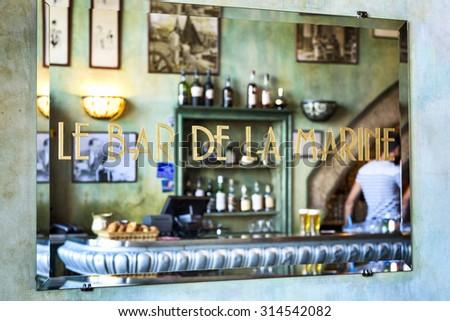 MARSEILLE - AUGUST 19 :Famous bar de la Marine cafe on August 19 2015 in Marseille,France.Marseille is France's largest city on the Mediterranean coast and largest commercial port. - stock photo