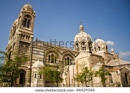 Marseille Cathedral exterior, France - stock photo