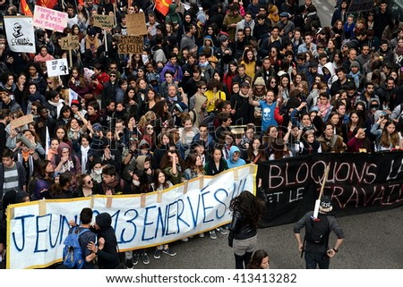 Marseille, France - April 28, 2016 : Thousands of protesters march during a demonstration against the French government and planned labor law reforms
