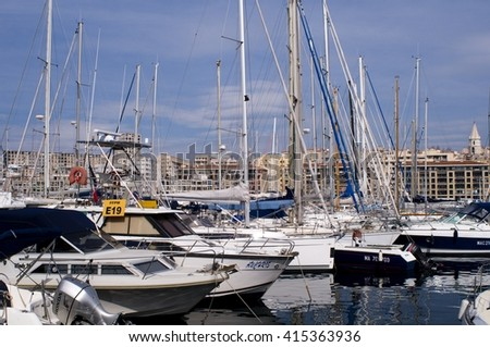 MARSEILLE, FRANCE - 30 April 2015: Vieux-Port of Marseille - Old harbour of Marseille - stock photo