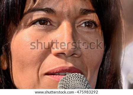 Marseille, France - August 30, 2016 : Samia Ghali is Senator of the Bouches-du-Rhone and Mayor of the 8th sector of Marseille