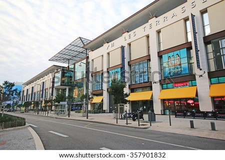MARSEILLE, FRANCE - JANUARY 3, 2016: Les Terrasses du Port is a shopping center located in the 2nd arrondissement of Marseille with over 190 stores  - stock photo