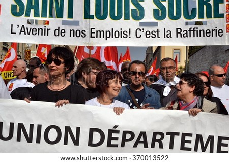 Marseille, France - January 31, 2016 : Unionist and employees of numerous companies in difficulty demonstrate in Marseille against massive lay-off and Macron law