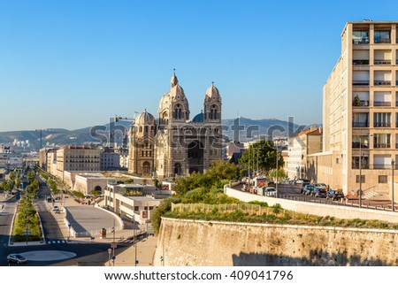 MARSEILLE, FRANCE - JUL 20, 2015: Cathedral of Sainte-Marie-Majeure or La Major
