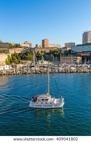 MARSEILLE, FRANCE - JUL 20, 2015: Yacht in the Old Port