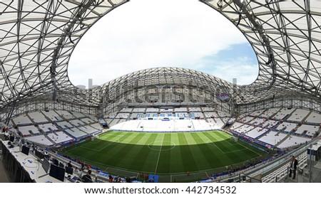 MARSEILLE, FRANCE - JUNE 21, 2016: Panoramic view of Stade Velodrome stadium before the UEFA EURO 2016 game Ukraine v Poland - stock photo