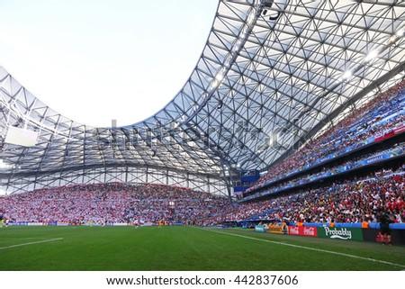 MARSEILLE, FRANCE - JUNE 21, 2016: Panoramic view of Stade Velodrome stadium during the UEFA EURO 2016 game Ukraine v Poland - stock photo