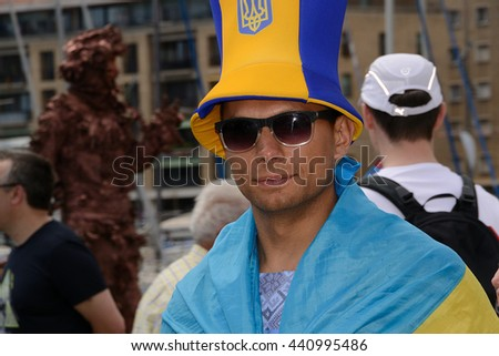 Marseille, France - June 21, 2016 : Ukrainian supporter pictured in Marseille during the 2016 UEFA European Championship in France