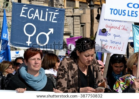Marseille, France - March 08, 2016 : International women's day demonstration