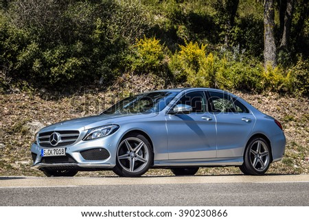 MARSEILLE, FRANCE - MARCH 6, 2014: Mercedes-Benz C-Class 2014-2015 model (W205) at test-drive on March 6 in Marseille, France. It is the first car to use all-new Modular Rear-wheel drive Architecture. - stock photo